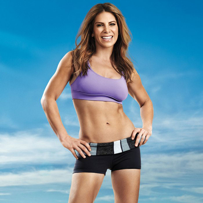 Jillian Michaels showing off her abs in a photo shoot.