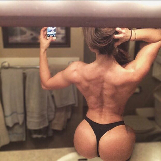 Kathleen Eggleton showing off her back muscles.