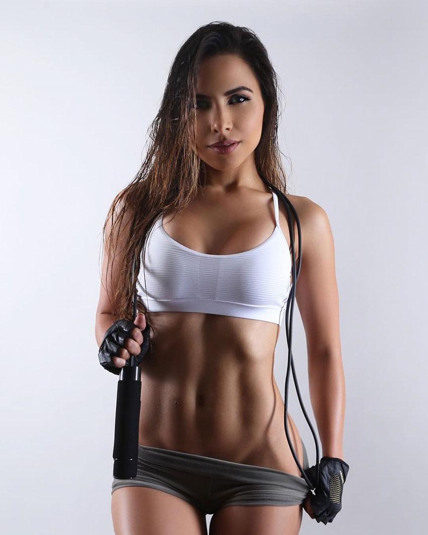Lisa Morales holding a jump rope.