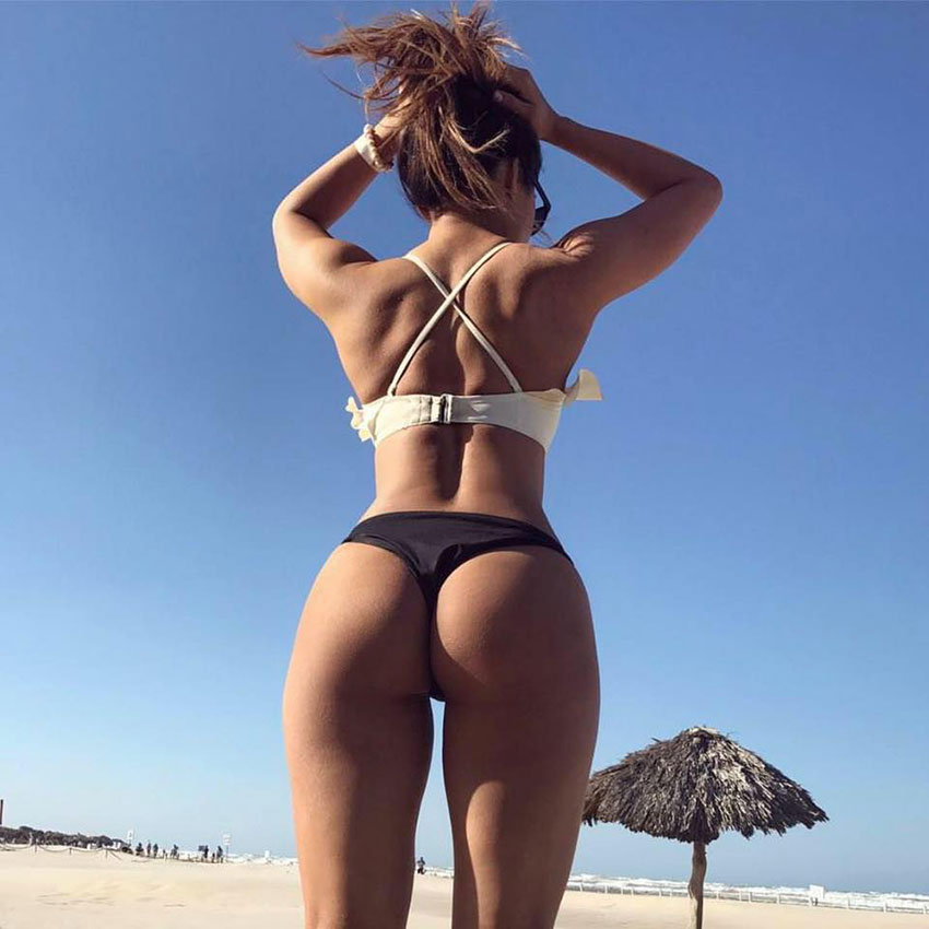 Liz Calles showing off her glutes and butt on the beach