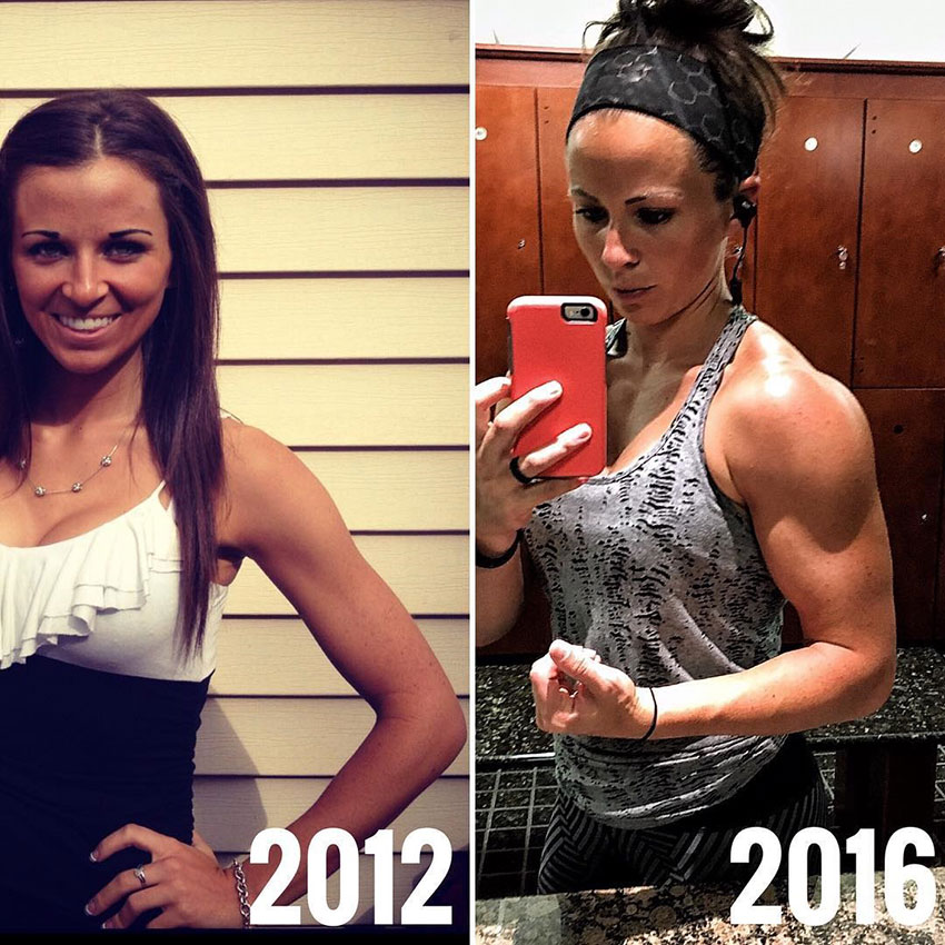 Sarah Bowmar before compared to how she looked in 2016.