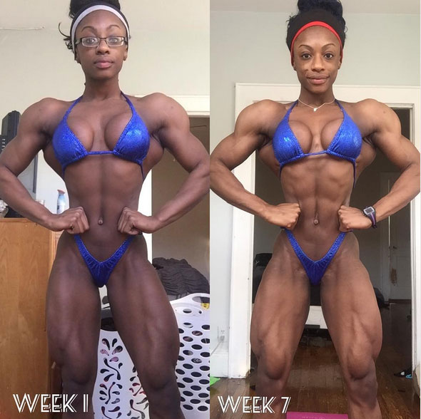 Shanique Grant before compared to after she was training for a competition.