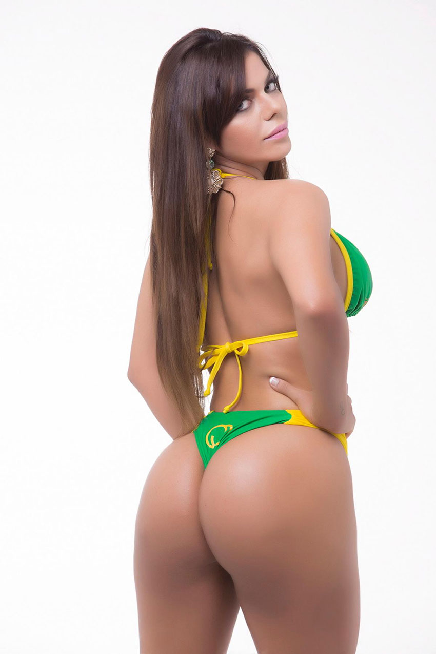 Suzy Cortez wearing a Brazil bikini in a photo shoot.