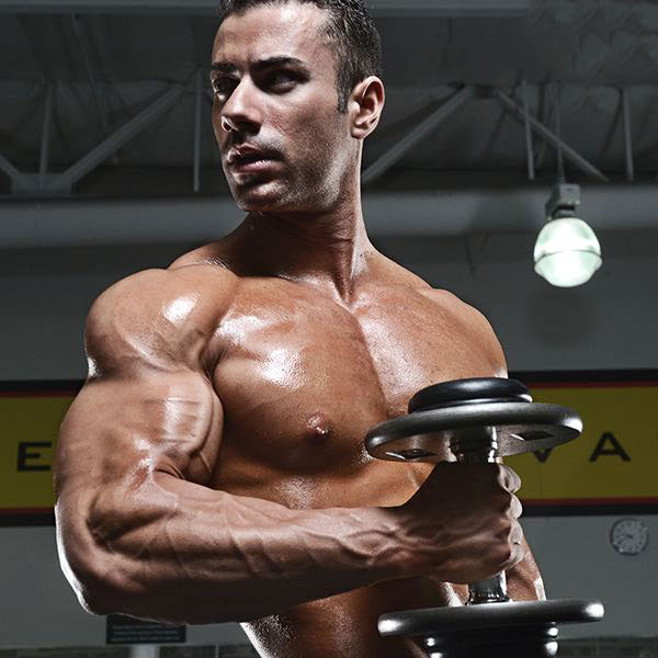 Alex Carneiro performing hammer curls.