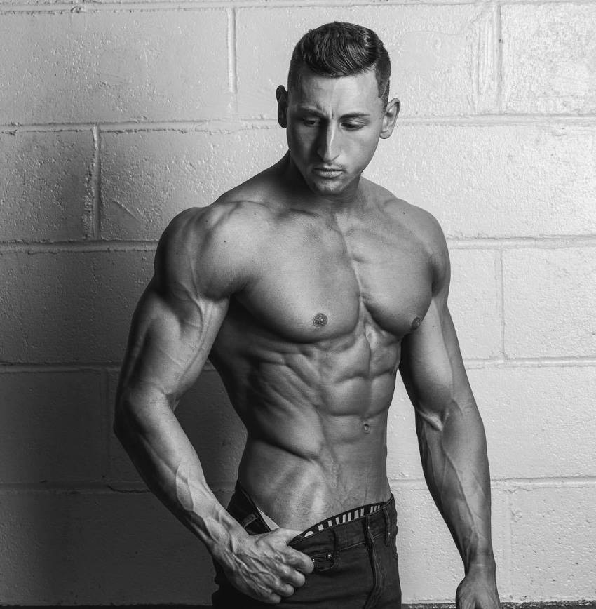 Anthony Scalza showing off his ripped and muscular body for a photo shoot