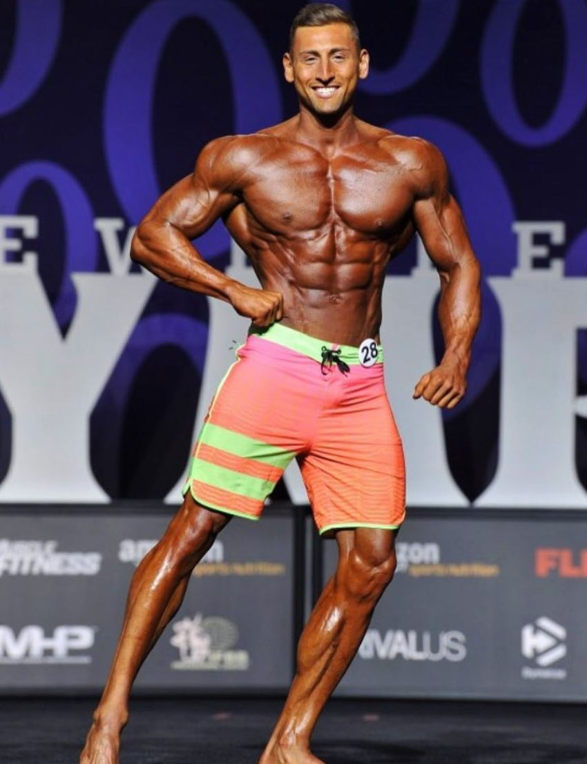 Anthony Scalza on the Men's Physique bodybuilding stage