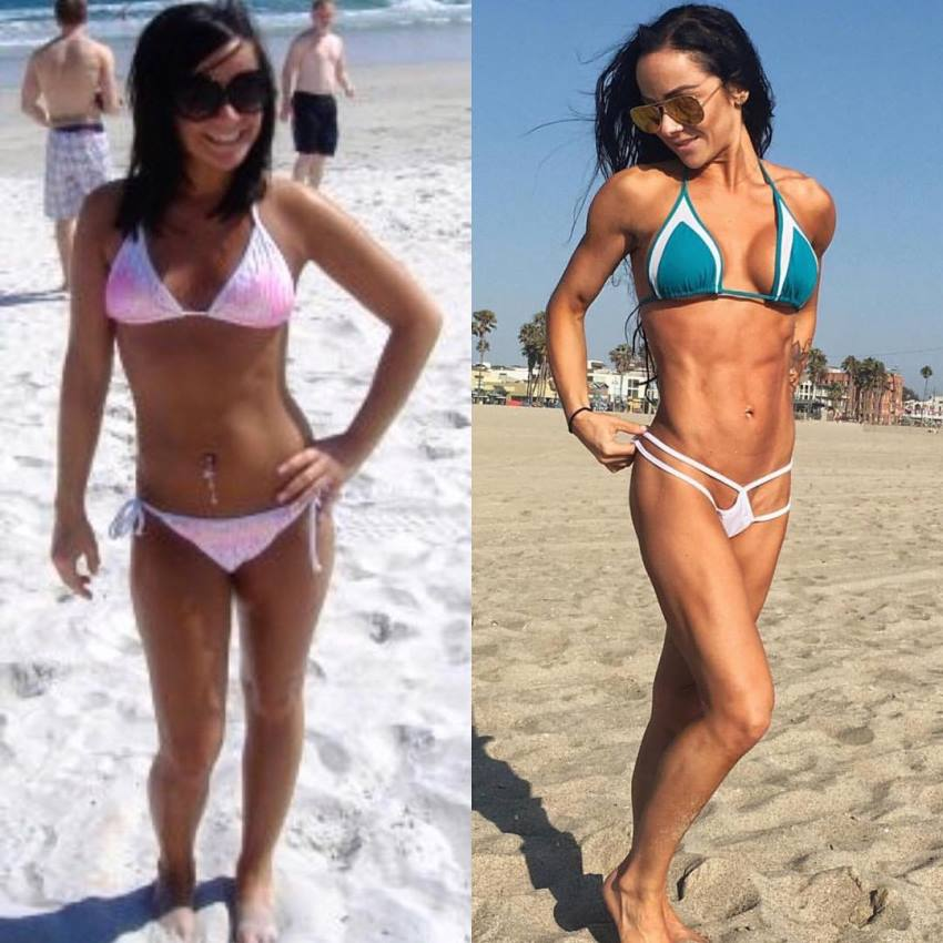 Caryn Nicole Paolini transformation before she started her fitness journey and after