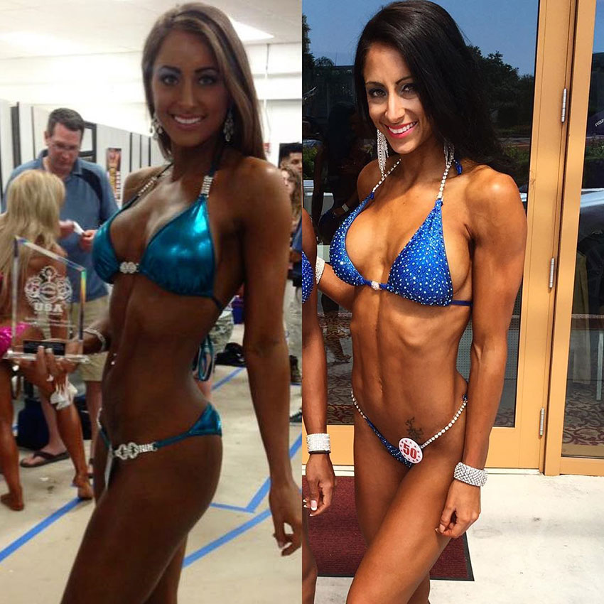 Casey Samsel at her first competition compared to one of her later ones.