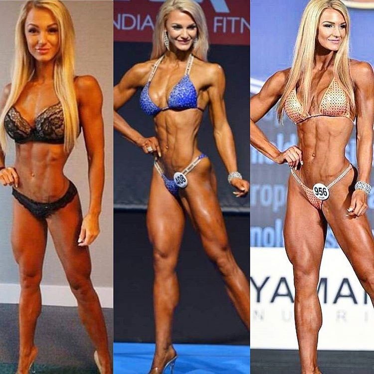 Catharina Wahl's progression over the years in her competitive bikini career.