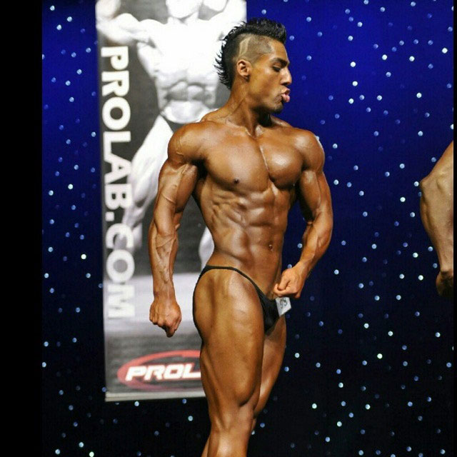Chris Lavado on the bodybuilding stage.