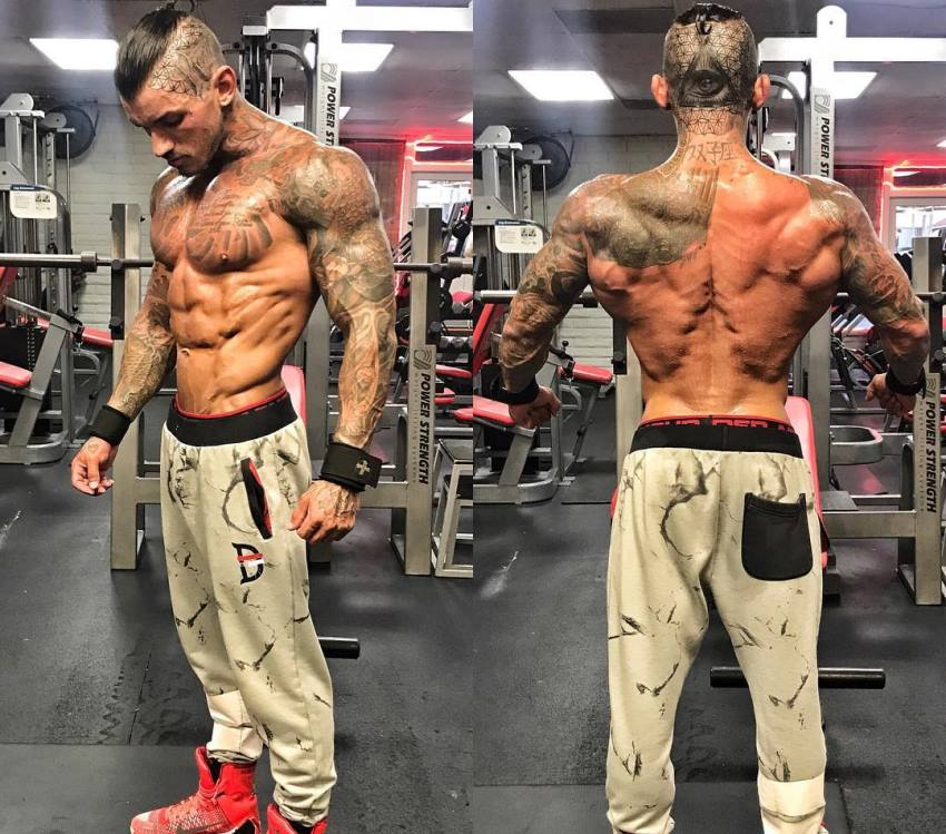 Devin Physique in two different poses, shirtless in the gym, showcasting his back, abs, and chest