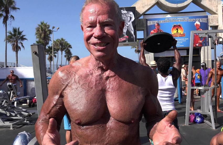 Jim Arrington shirtless at Muscle Beach, Venice