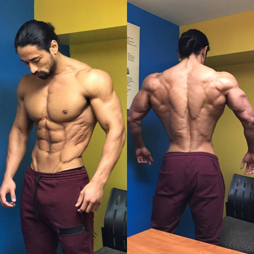 Justin Gonzales in two different poses showing his ripped back and front body