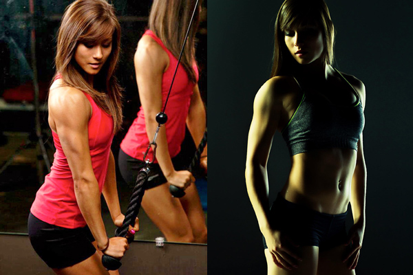 Kimberly Marie in two different pictures, training her triceps and posing for a photo showing her lean muscles