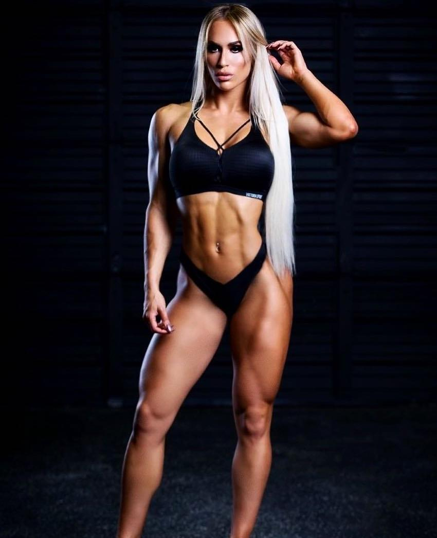 Marialye Trottier posing for a photo looking fit and lean