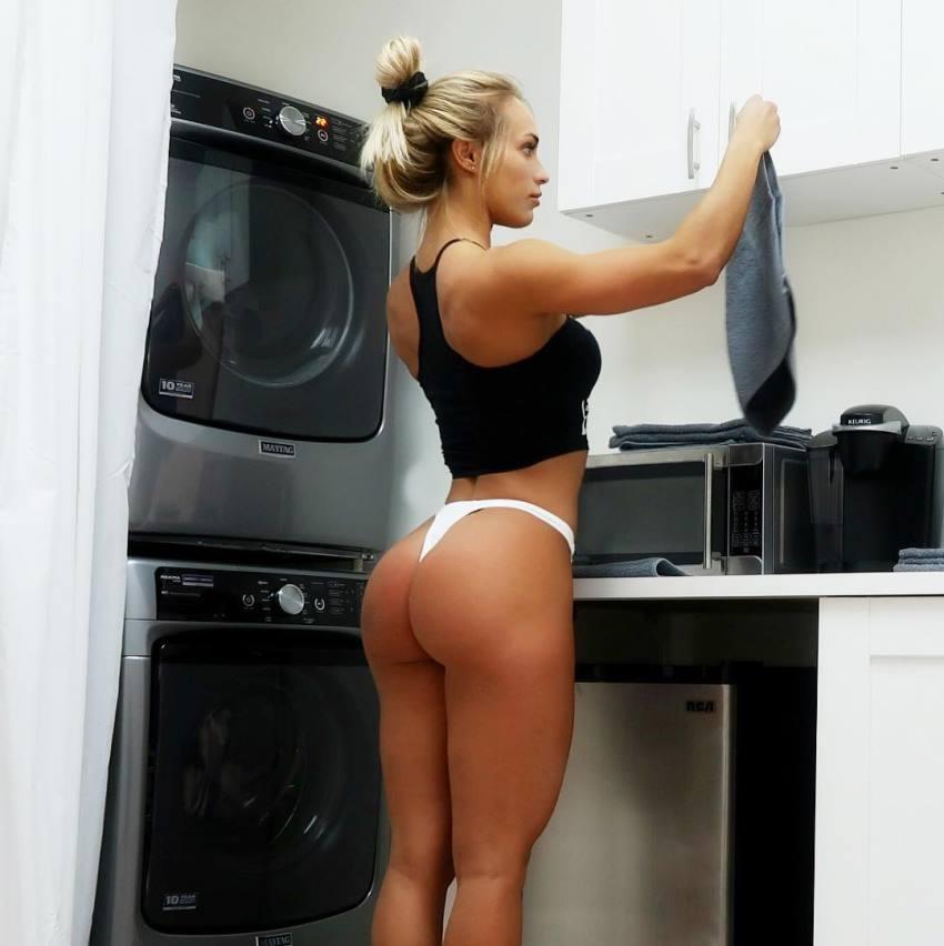 Marialye Trottier by launderette showcasting her curvy glutes in white bikini
