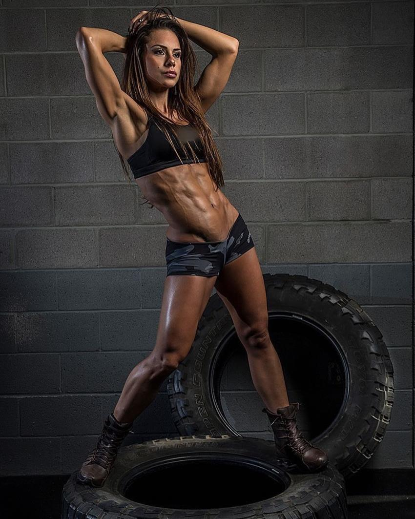 Nathalia Melo posing for the photo shoot, looking lean