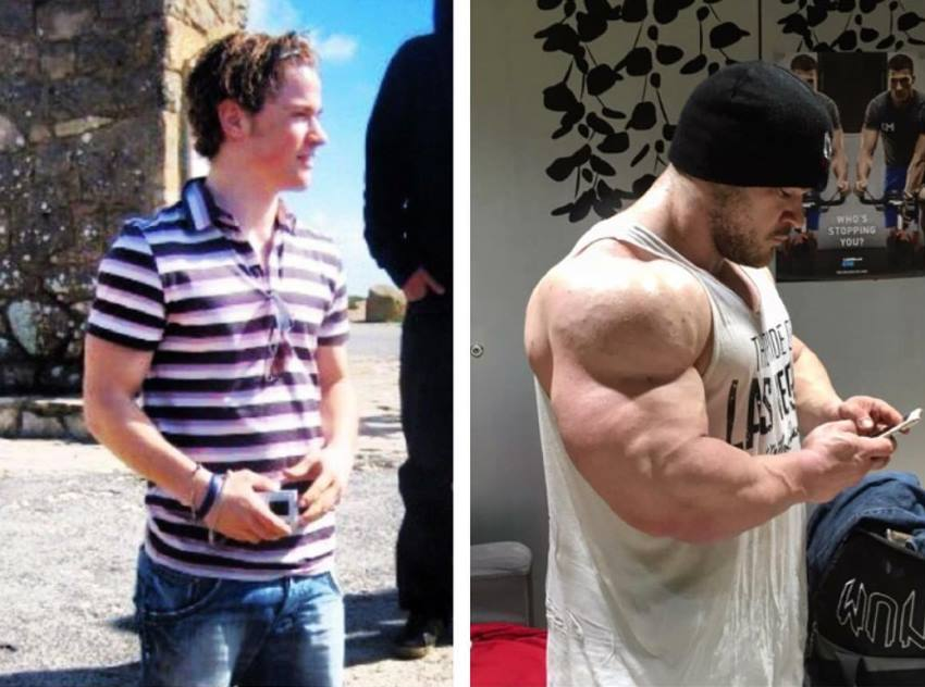 Nicolas Vullioud transformation before he began his bodybuilding journey and now