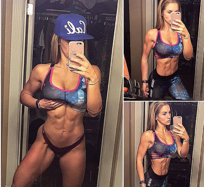 Nikola Weiterova taking a selfie of her conditioned physique in the mirror