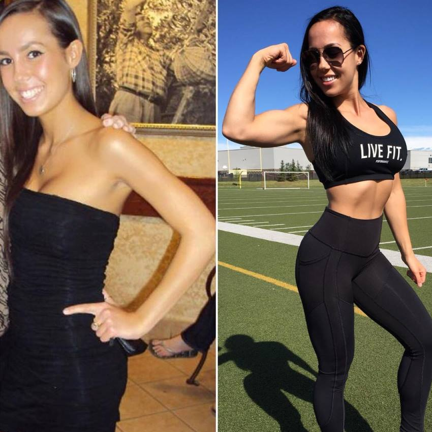 Randi Kennedy's transformation before her fitness journey and today