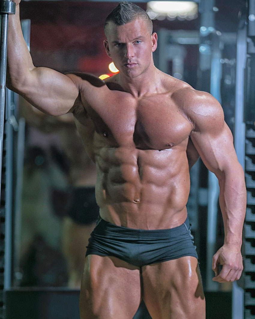 Samuel Dixon showing off his physique in a photo shoot.