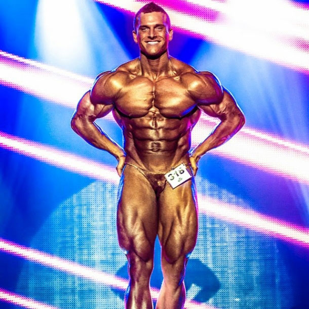 Samuel Dixon on the bodybuilding stage.