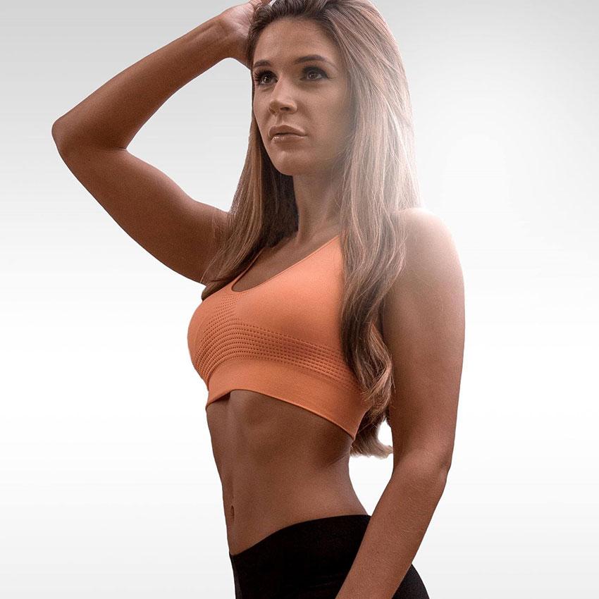 Sarah Godfrey posing in a photo shoot.