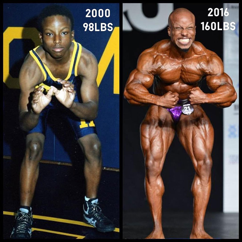 Shaun Clarida before compared to when he gained considerable muscle mass.