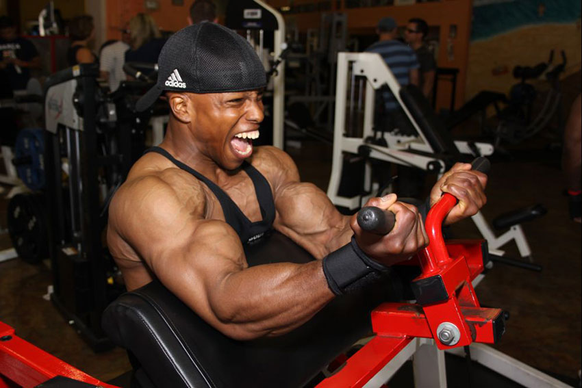 Shaun Clarida performing bicep curls on a machine.