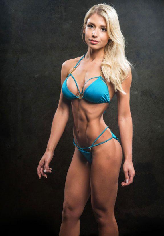 Sophie Aris posing in a bikini.