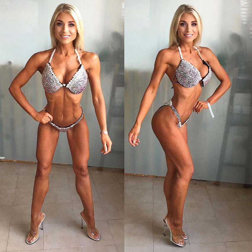 Sophie Aris posing before a bikini competition.