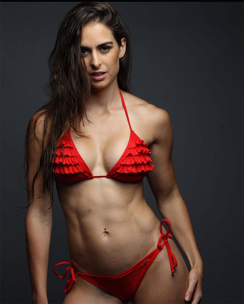 Stephanie Sequeira posing in a bikini in a photo shoot.