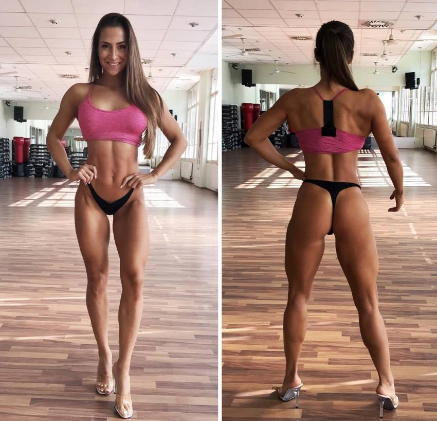 Timea Trajtelova practicing posing for a bikini contest