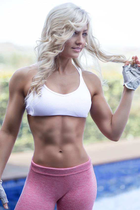 Zoe Daly showing off her abs in a photo shoot.