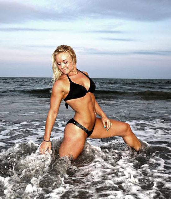 Ashley Lockaby wearing a bikini in the ocean.