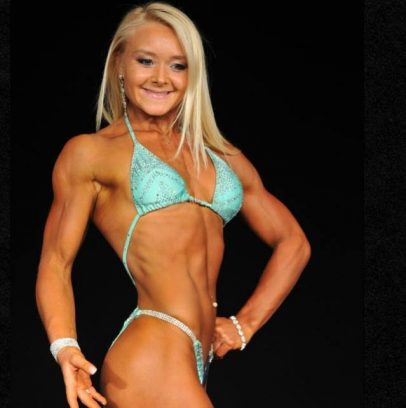 Ashley Lockaby on the bodybuilding stage.