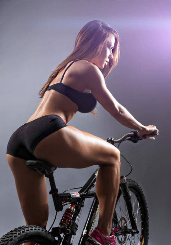 Chady Dunmore sat on a bike in a photo shoot.