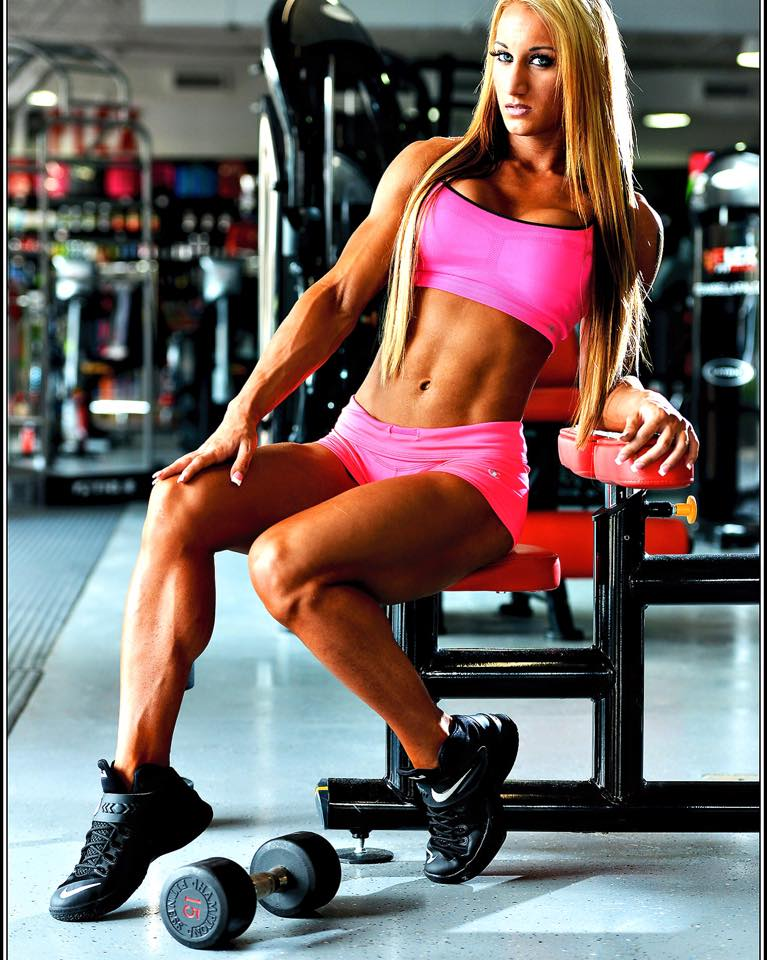 Hope Trask in a photo shoot in the gym.