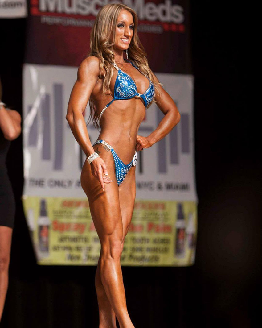 Hope Trask on the bodybuilding stage.