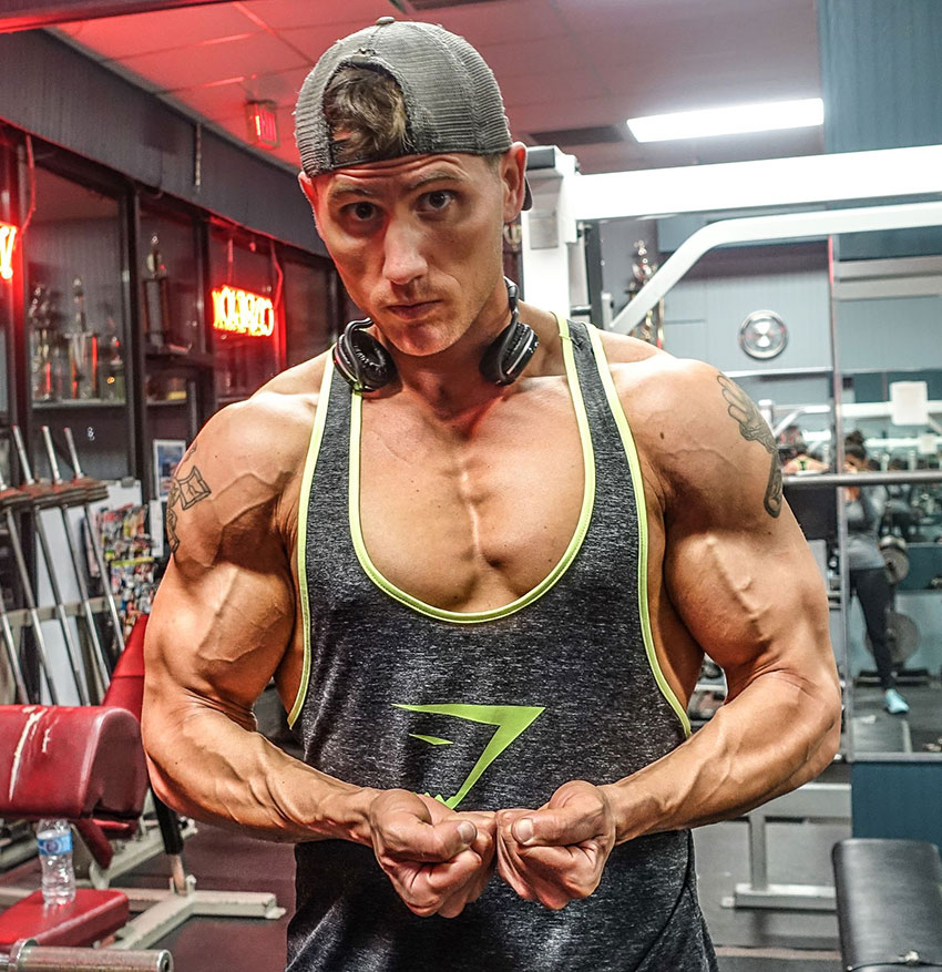 Matty Fusaro in a photo showing off his shredded physique.