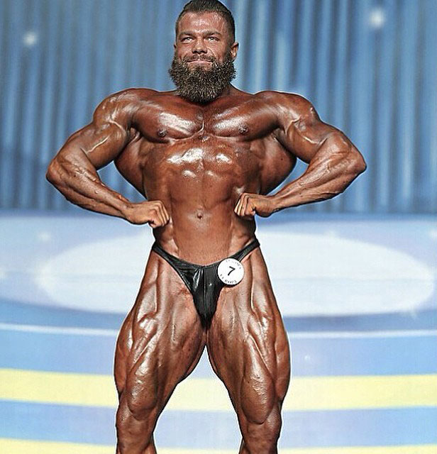 Mike Johnson on the bodybuilding stage.