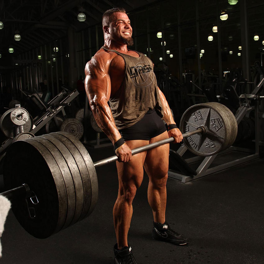 Mike Johnson performing a heavy deadlift.