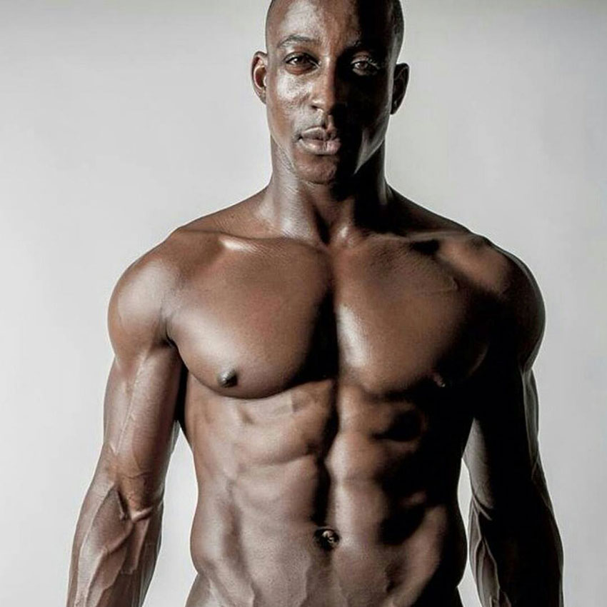 Shaka Smith showing off his lean physique in a photo shoot.