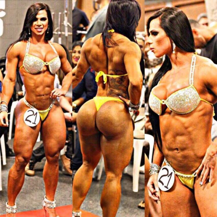 Suelen Bissolati in three different poses looking fit, aesthetic, and muscular