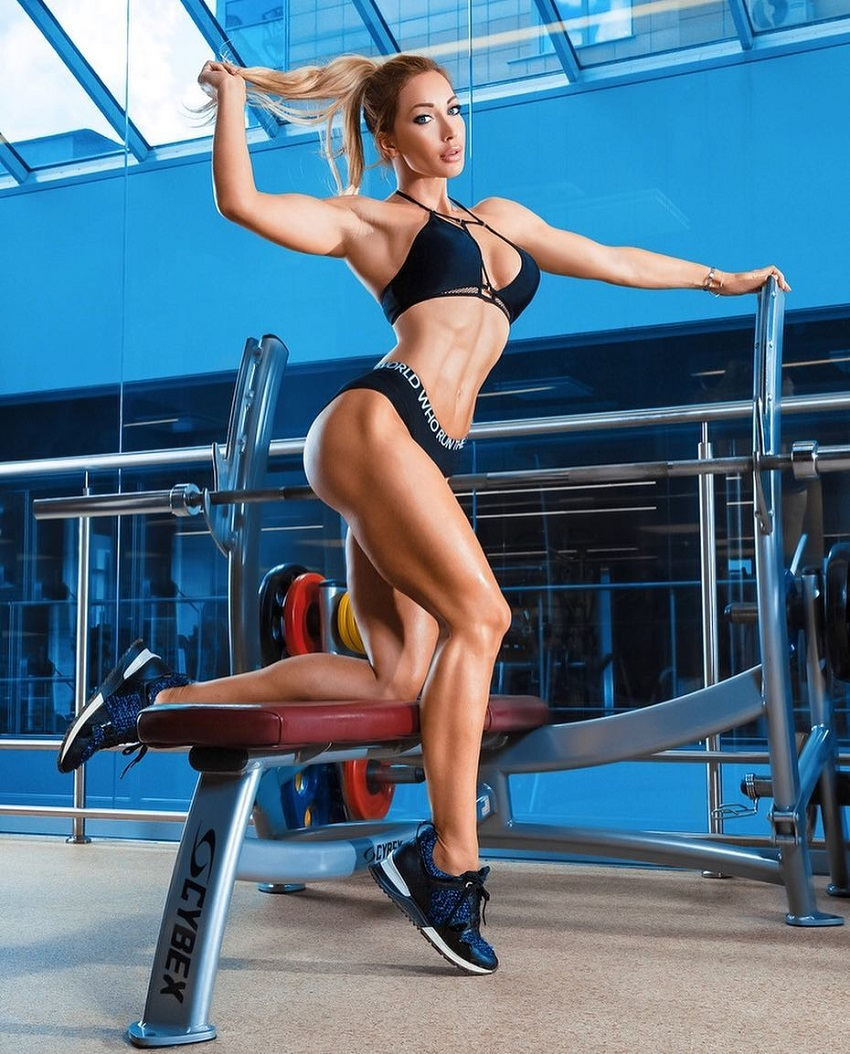 Kate Krasavina posing for a photo showing off her lean figure