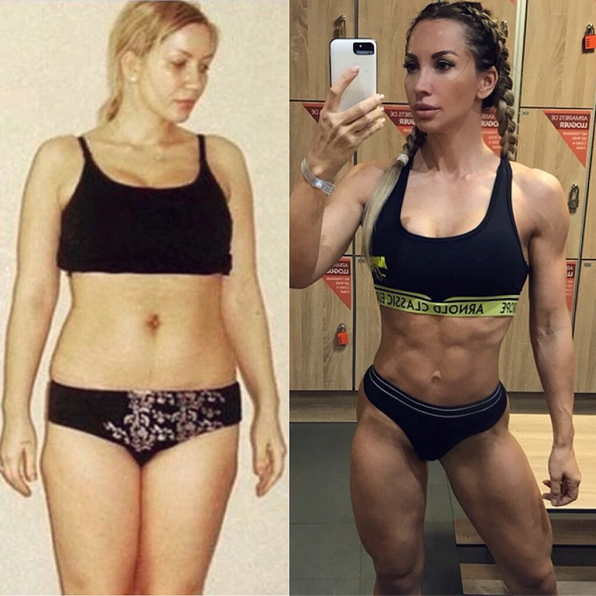 Kate Krasavina's fitness body transformation before-after