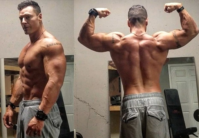 Micah Lacerte in two different shirtless poses looking muscular and ripped