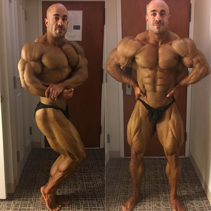 Sasan Heirati performing shirtless poses, practicing for a contest