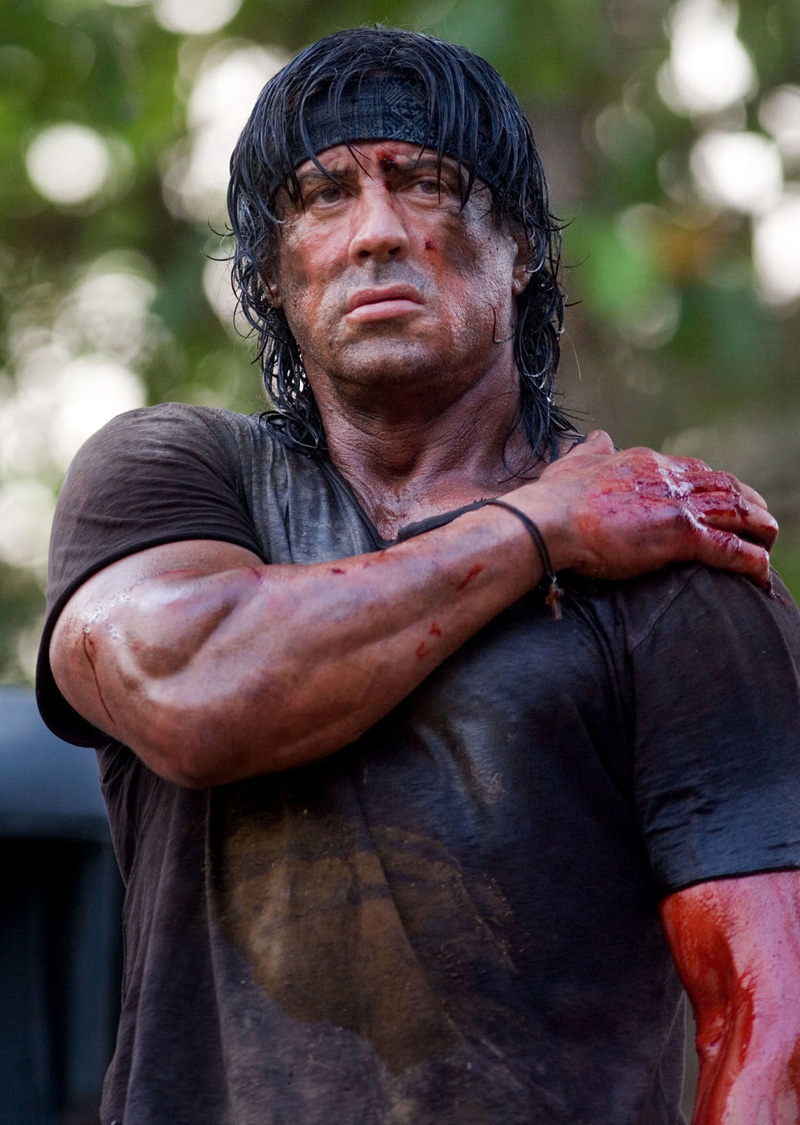 Sylvester Stallone during one of the scenes in Rambo 4.