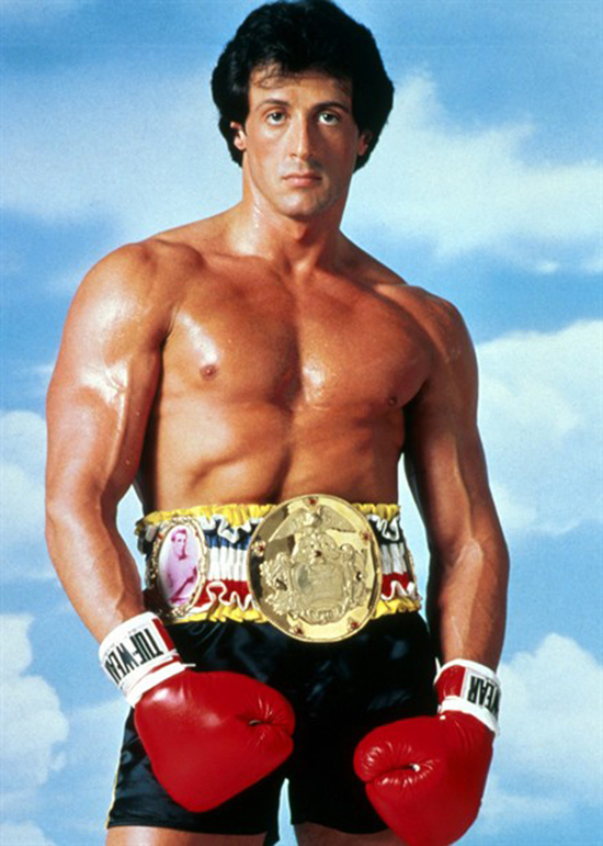 Sylvester Stallone in the first Rocky looking strong and lean